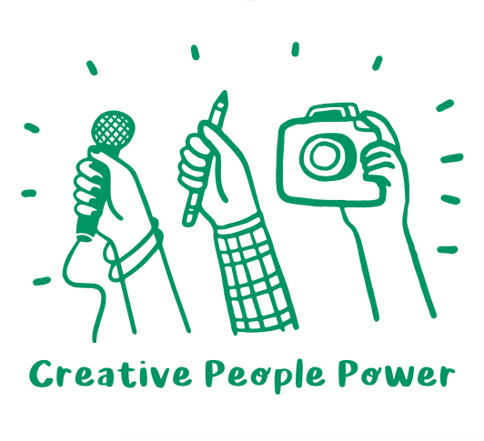 Illustration for hands holding a microphone, pencil, and camera for Creative People Power