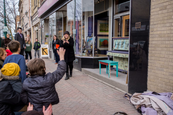 A crowd outside the Kaddatz Gallery in Fergus Falls, part of Year of Play