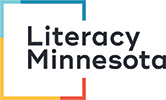 Logo of Literacy Minnesota, the wordmark in a multicolored square