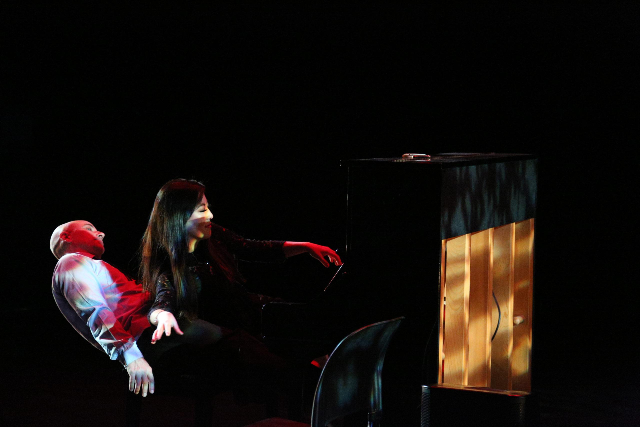 Hinge Arts artist, Yan Pang, performing