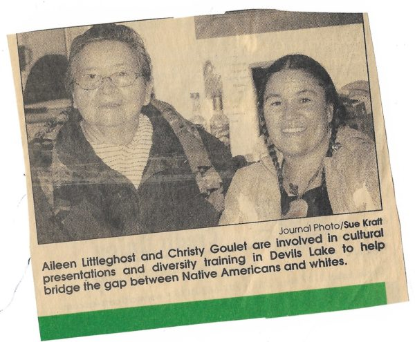 Newspaper clipping of Christy Goulet with an Elder